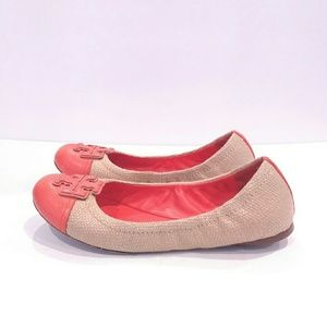 Tory Burch Orange and Linen Ballet Flats